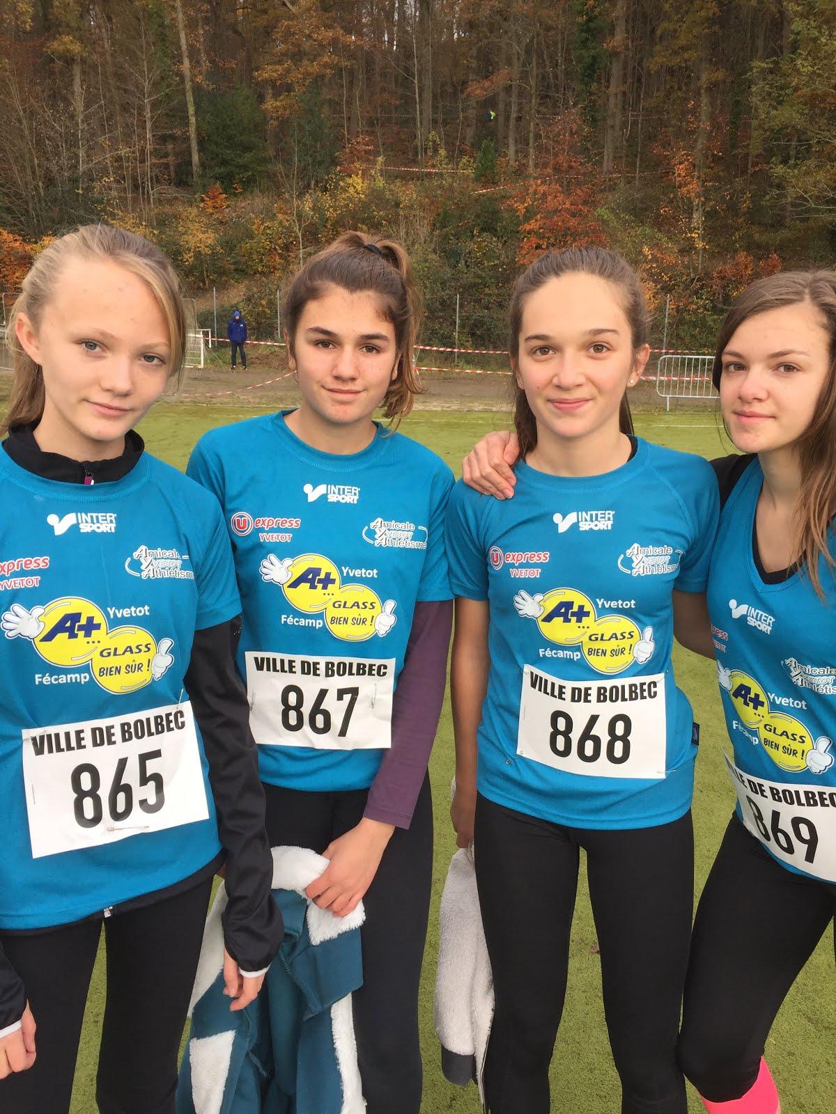 cross de bolbec les minimes filles 2em par équipes