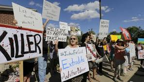 Protestas ante la casa del cazador estadounidense que lo abatió: Walter Palmer.