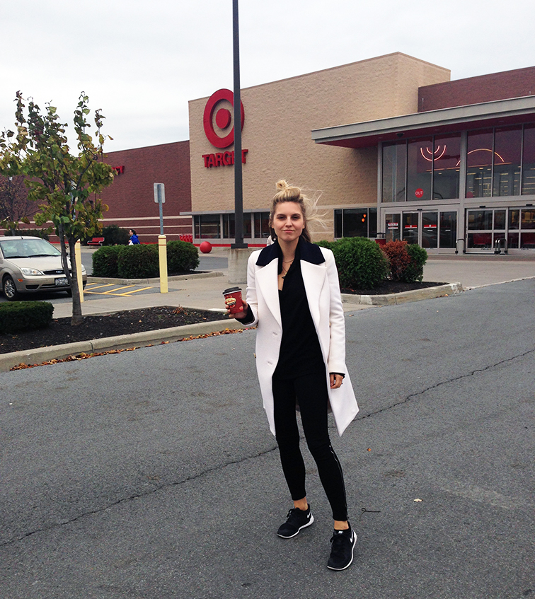 fashion over reason road trip, Target Watertown, travel style, J.Crew white tuxedo coat, Nike Free Run