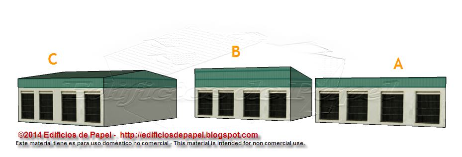 Fachada posterior de la maqueta de papel del Almacén Logístico