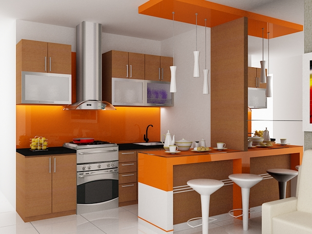 Contoh gambar desain interior apartemen minimalis gambar for Kitchen set apartemen