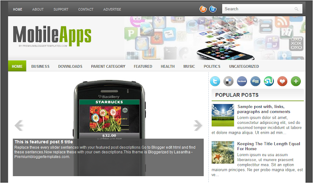 Mobile Apps - Phone Theme Blogger Template