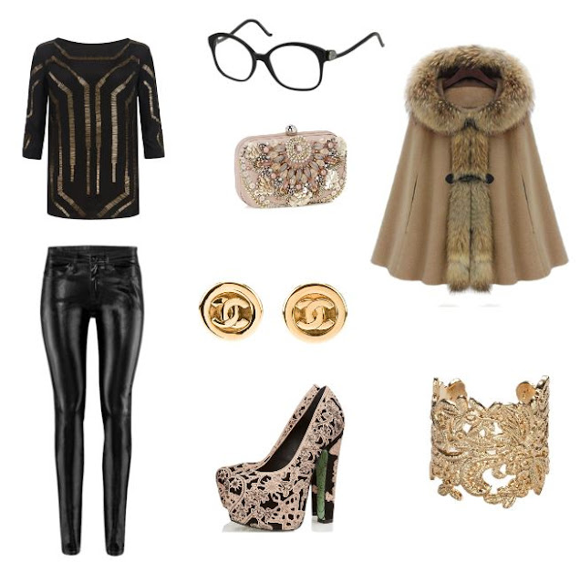 Balenciaga BAL 0053 807, Balenciaga black glasses, smartbuyglasses, black and gold and fur outfit,