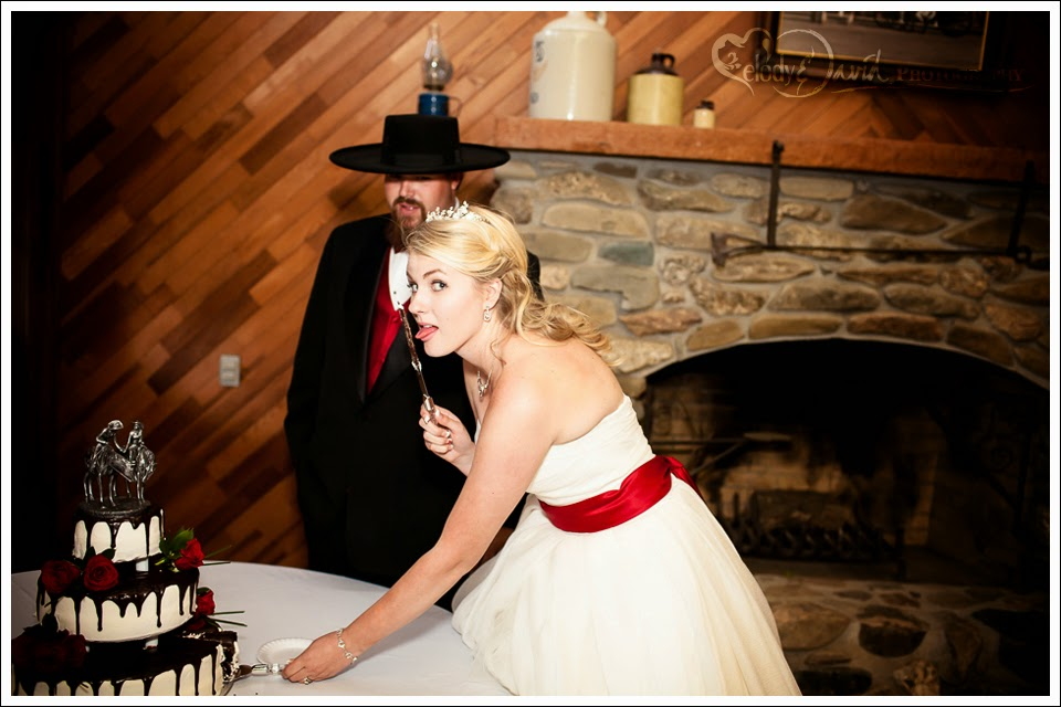 Naughty bride licks the knife.