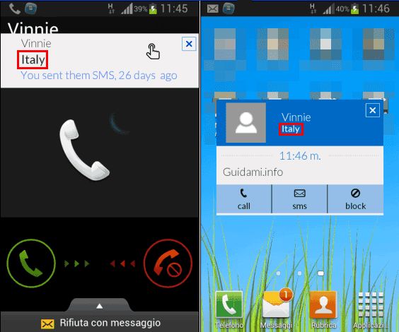 Phone 2 Location app Android notifica nazione provenienza