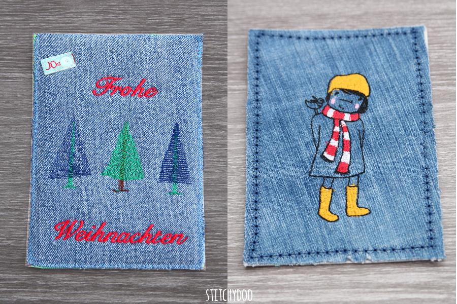 stitchydoo: Stoffkartentausch | Erhaltene Karten im Dezember - Jeans und Stickerei