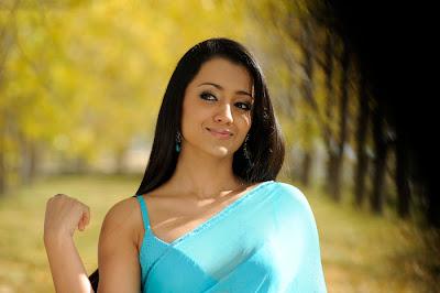 Tamil Actress Trisha Hot In Blue Transparent Saree Photos