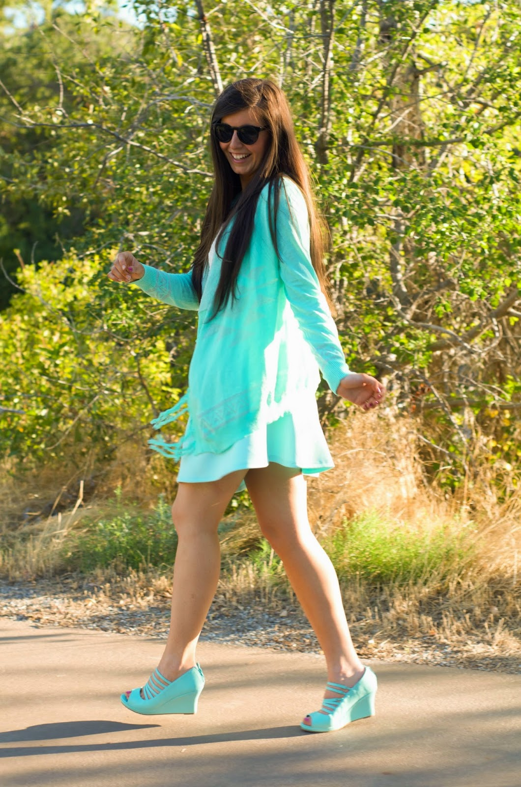 mint on mint, lace with mint skater skirt, mint kimono, mint sandal wedges, pretty outfit, ootd, outfit of the day, mint outfit to wear in the summer, summer outfit with mint skater skirt, mint kimono, kimono outfit, fringe kimono,