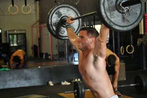 Muscular Man Hairy Armpits Barbell Squat