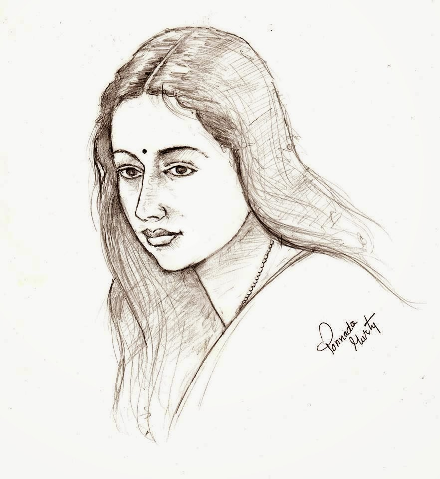 Pencil sketch of an indian beauty
