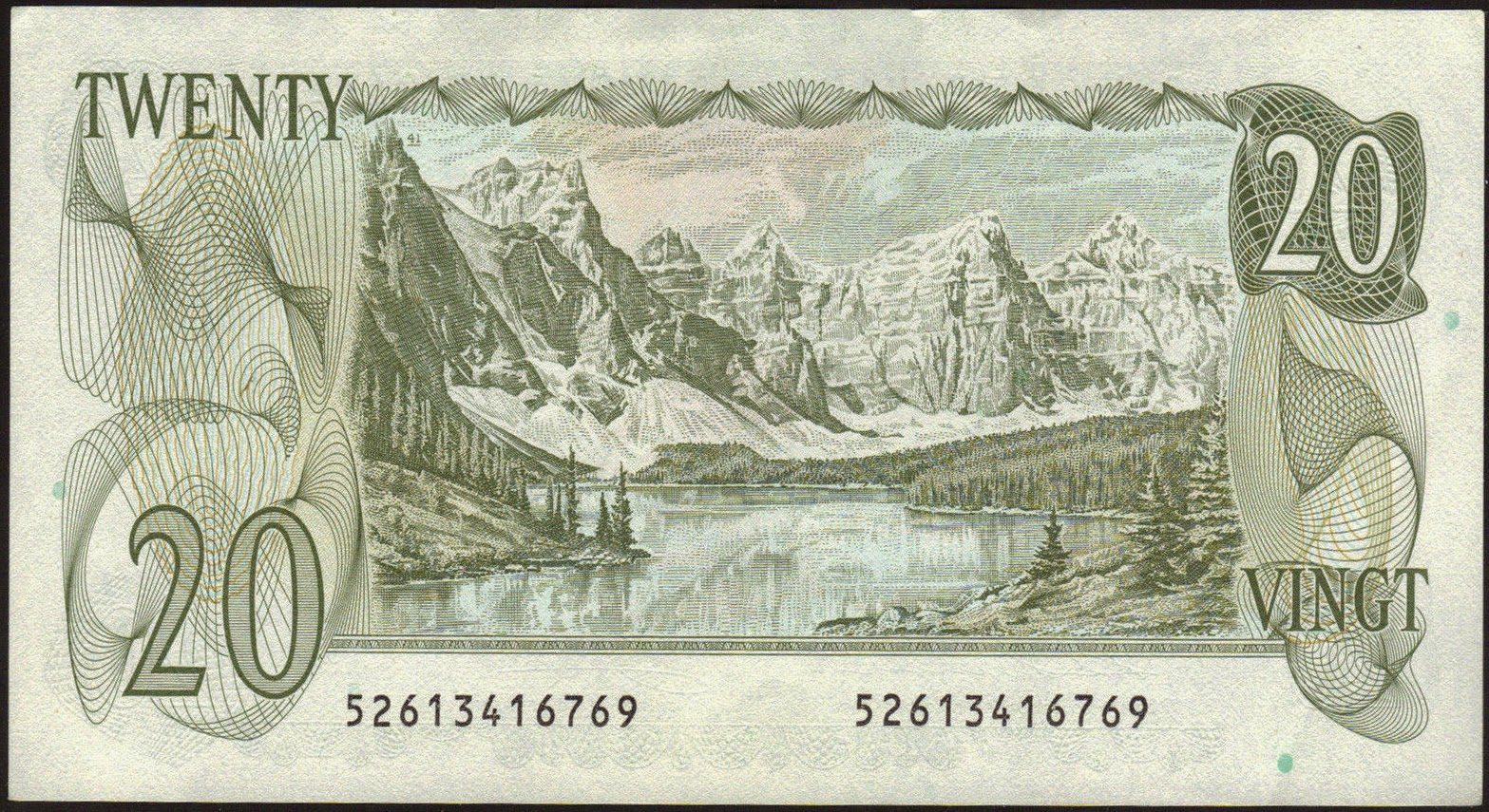 Canada money currency 20 dollar note 1979 moraine lake and the valley