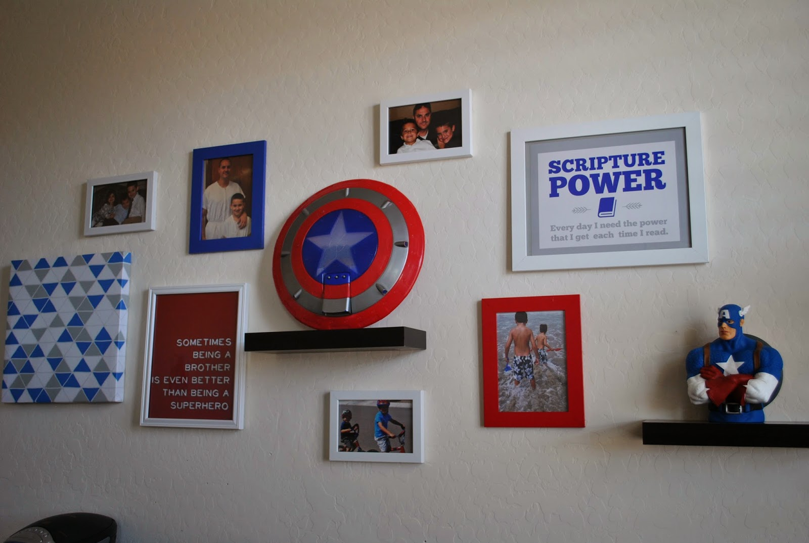 Kidu0027s Bedroom Series: Cohenu0027s Captain America Themed Wall Gallery.