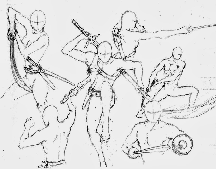 Sword Fighting Poses Coloring Pages