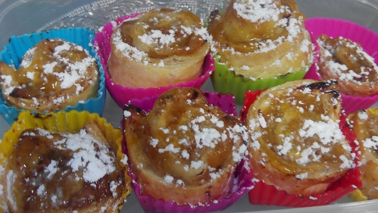 Rollitos de hojaldre con manzana, hojaldre, manzana