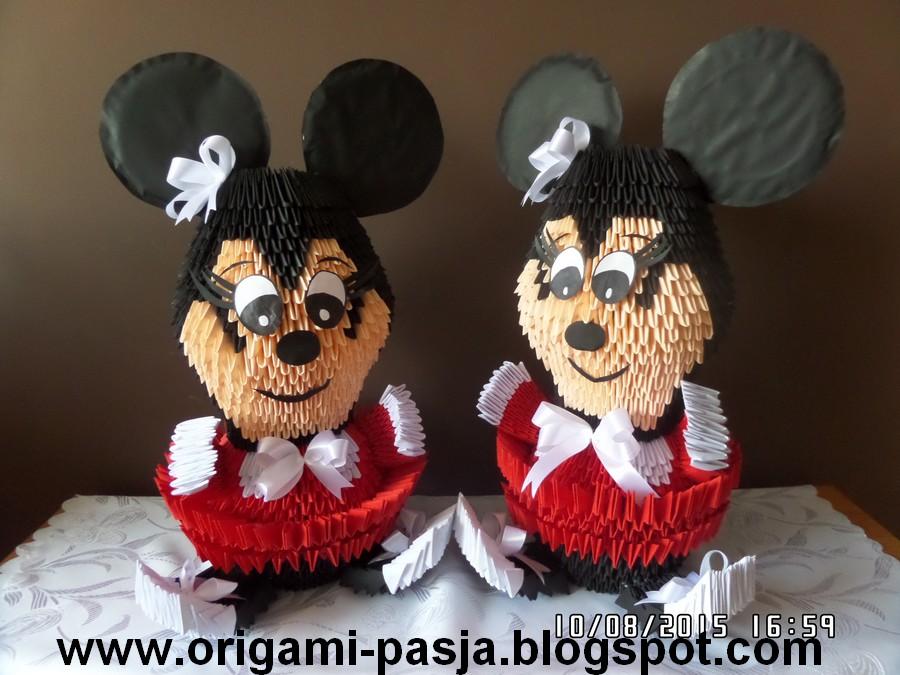 Myszka Minnie - origami modułowe