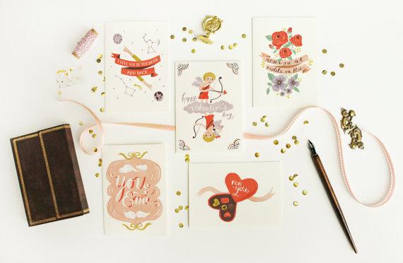 Valentine s card set 5pcs