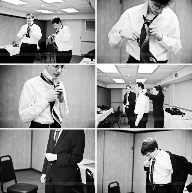 Groom and groomsmen preparing for wedding