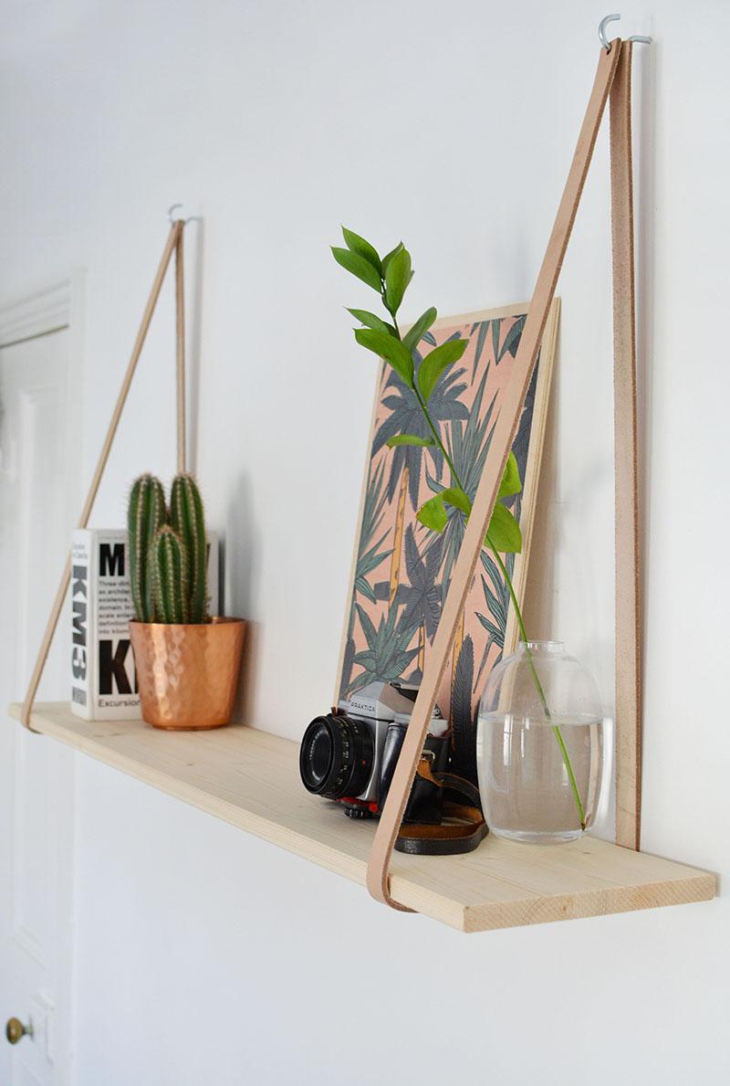 diy easy leather strap shelf burkatron. Black Bedroom Furniture Sets. Home Design Ideas