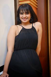 Actress Saloni Aswani Picture Gallery in Black Long Dress at (GAMA) Gulf Andhra Music Awards 2014 Press Meet  4.JPG