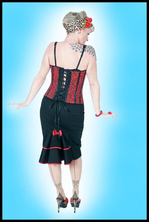 Black fishtail wiggle rockabilly skirt