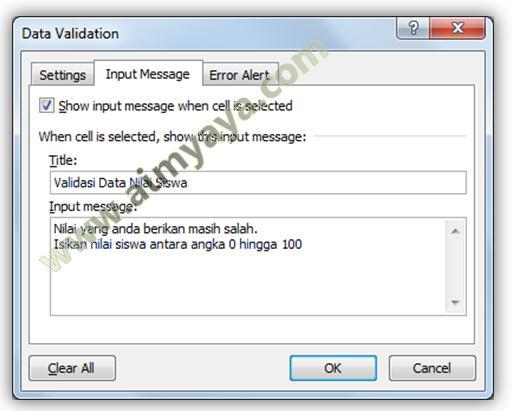 Gambar: Mengisi pesan input validasi data