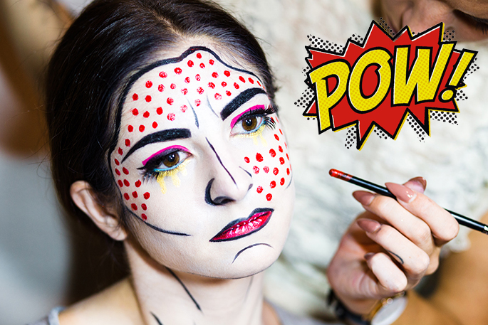j petite halloween makeup tutorial roy lichtenstein pop art makeup with bryanna casey. Black Bedroom Furniture Sets. Home Design Ideas