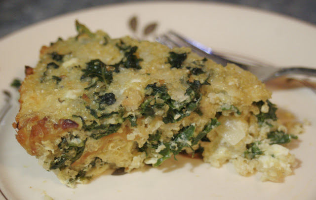 Slice of Quinoa Bacon Kale Quiche