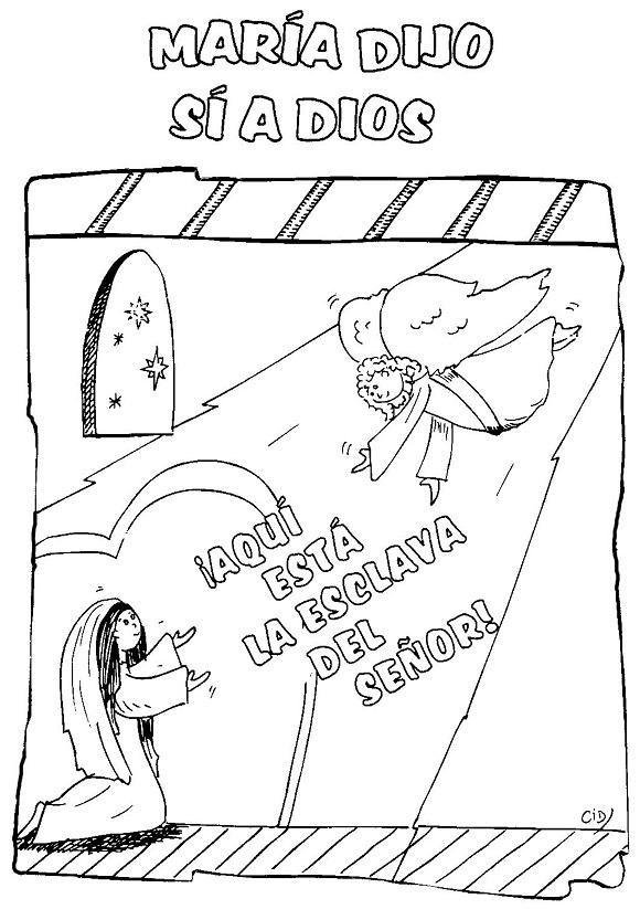 Imagen de María y el Ángel Gabriel para colorear ~ Mi vida sin ...
