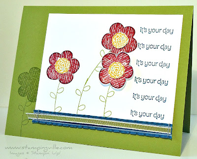 Greeting Card Featuring Raining Flowers Stamp Set by Stampin' Up!