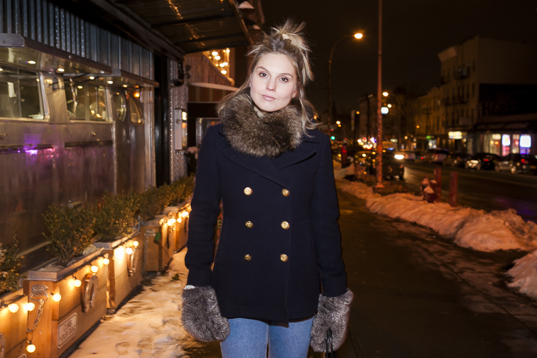 Fashion Over Reason nighttime, brooklyn, Majesty pea coat, jcrew