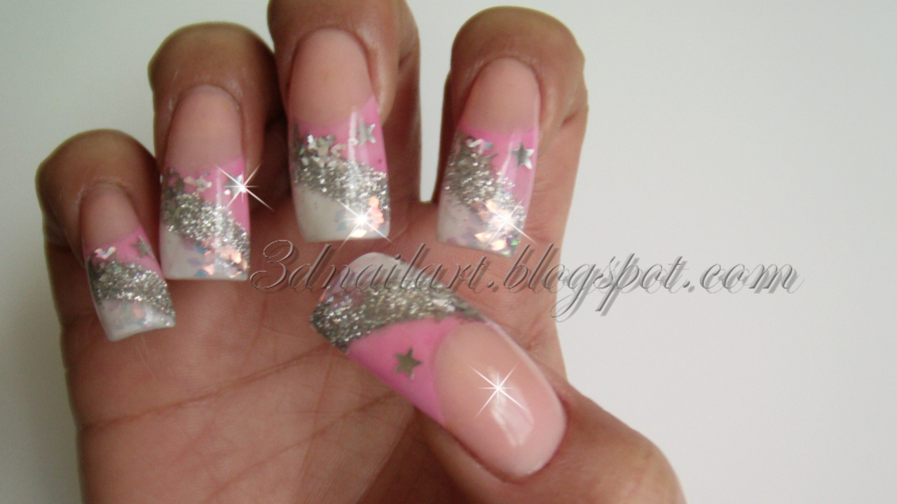 3d nail art pink silver new years design 2012 pink silver new years design 2012 prinsesfo Choice Image