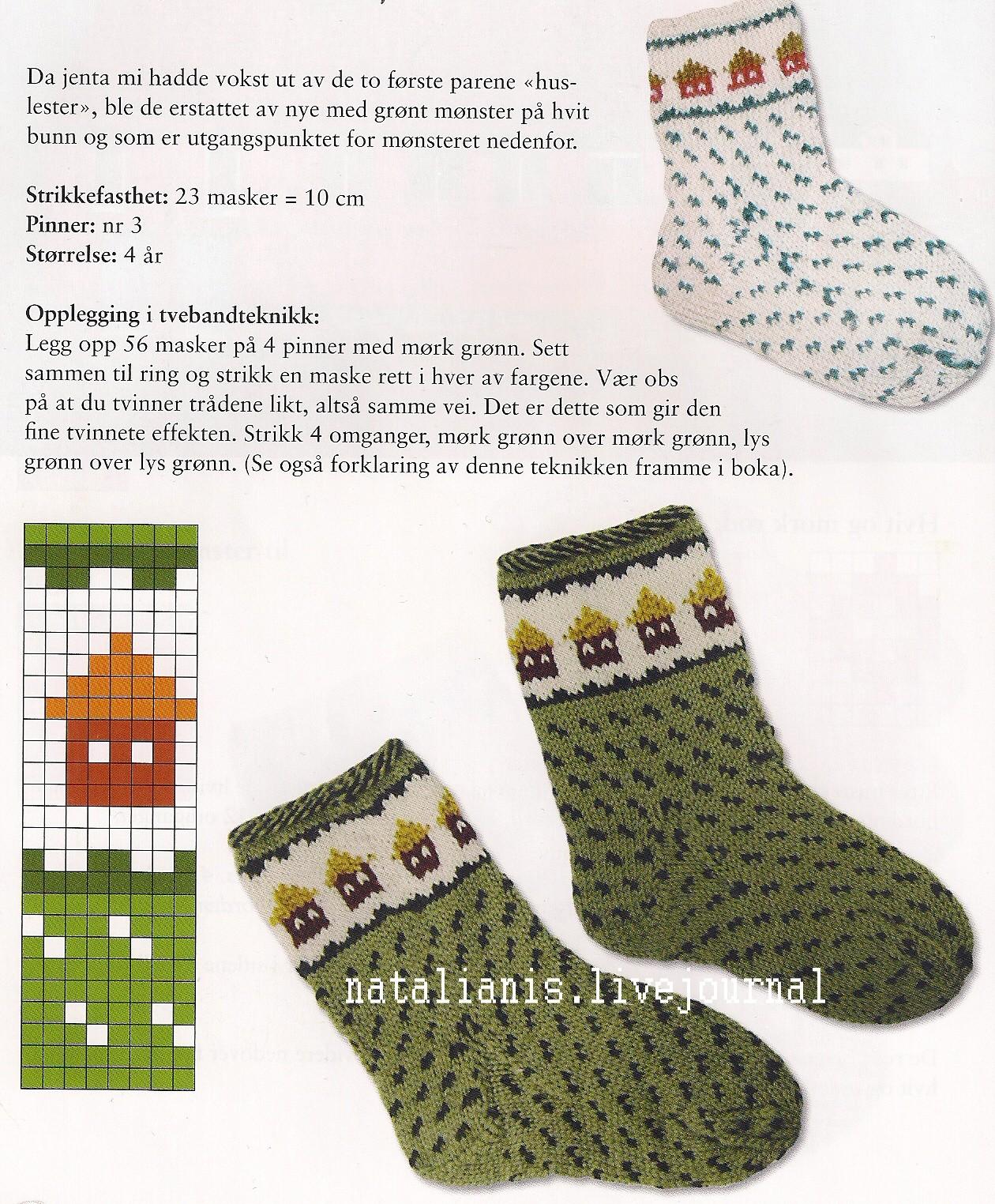 Вязание на спицах детских носков с рисунком