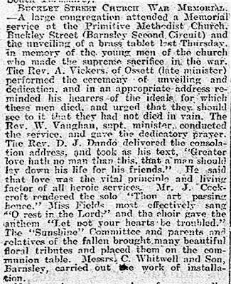 Newspaper cutting reporting the unveiling of a brass tablet in Buckley Street Church.