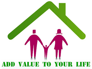 Add value to your house – add value to your life, clip art: Family under a roof