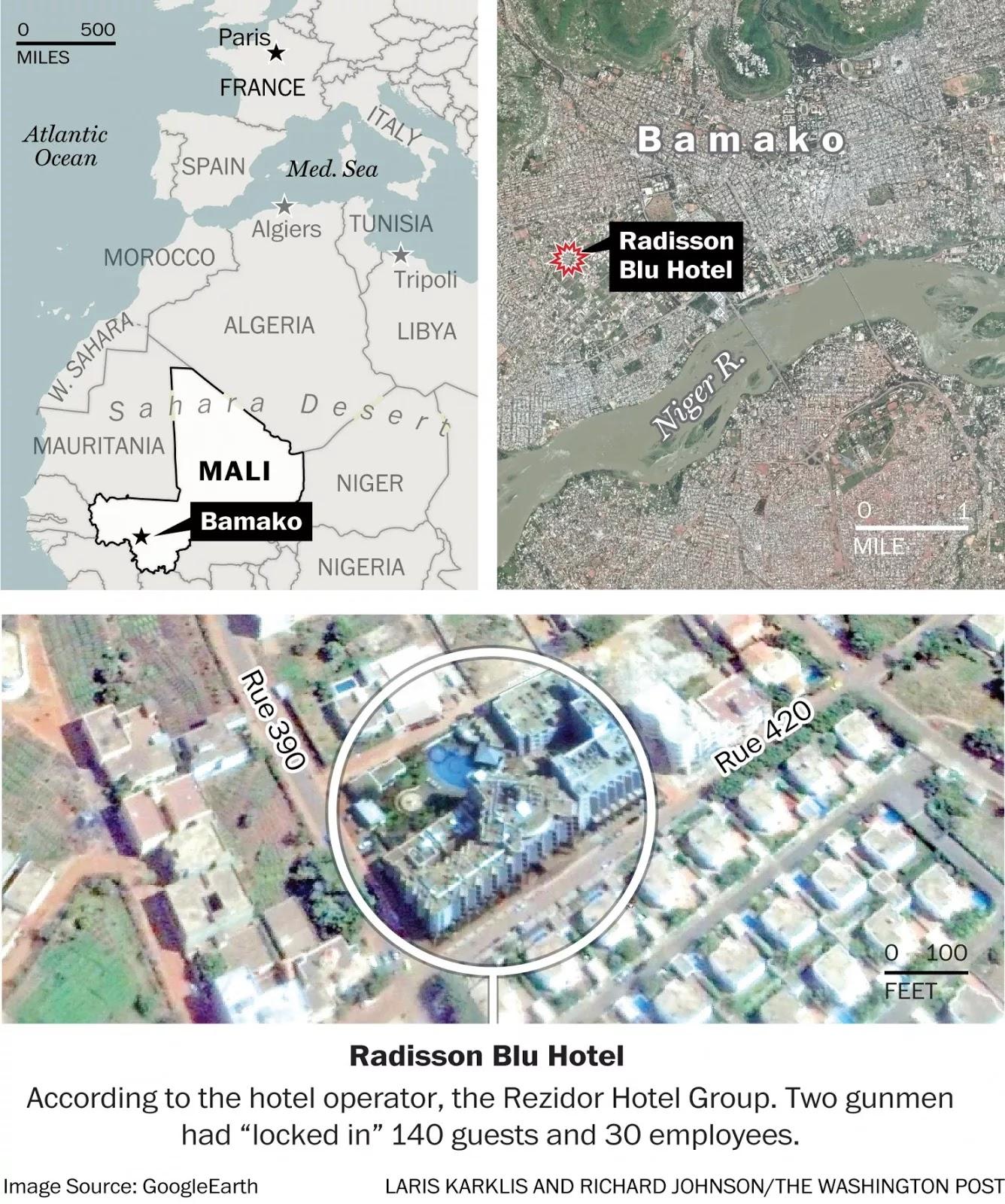 a military official said the gunmen shouted allahu akbar as they began the attack al mourabitoun an african jihadi group affiliated with al qaida