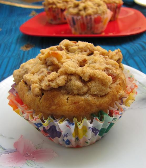 the exotic crumbled banana walnut muffin