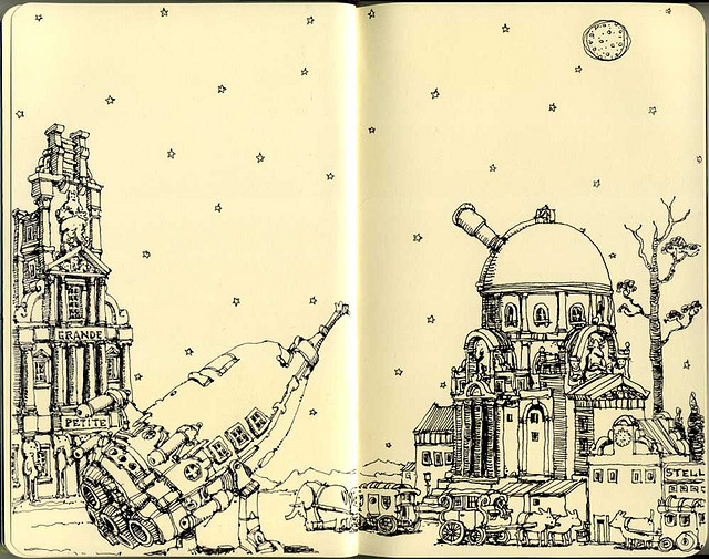 25-To-The-Heart-Of-The-Sun-Mattias-Adolfsson-Surreal-Architectural-Moleskine-Drawings-www-designstack-co