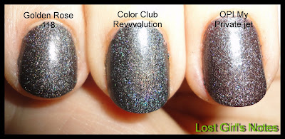 color club revvvolution, OPI my private jet and golden rose comparison