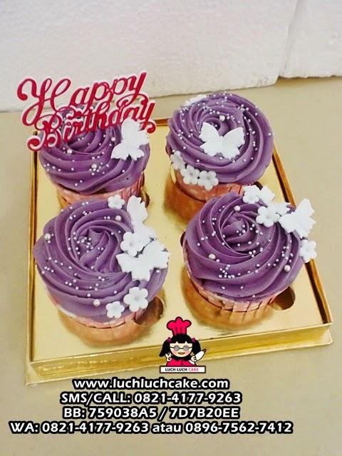 Cupcake Buttercream Ungu Daerah Surabaya - Sidoarjo