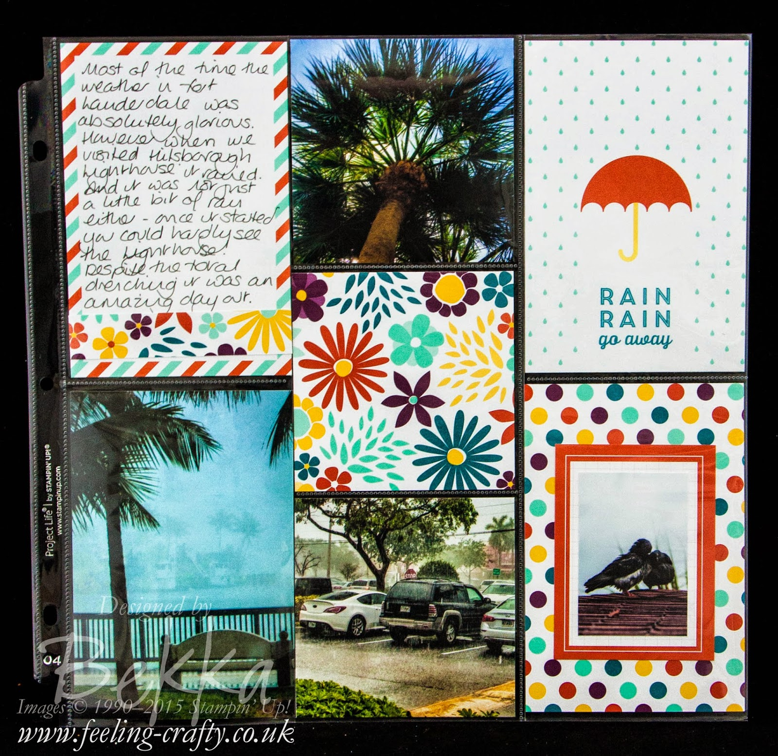 Florida Rain Project Life Page with the FREE This Day Project Life by Stampin' Up! Cards