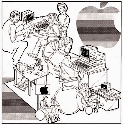 Apple Accessibility image from 1981, with a black and white outline drawing of various computer users using different access technology.