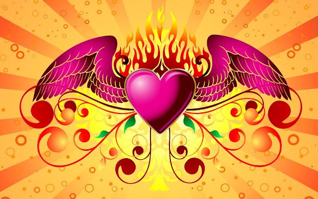 Corazón con Alas y Llamas de Fuego - Imágenes de Fondo HD de Amor
