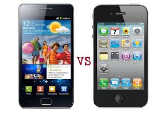 Samsung Galaxy S2 ja iPhone 4 puhelin vertailu