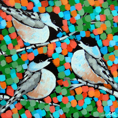 Chickadee painting, Aaron Kloss, Sivertson Gallery, Minnesota, Pointilism