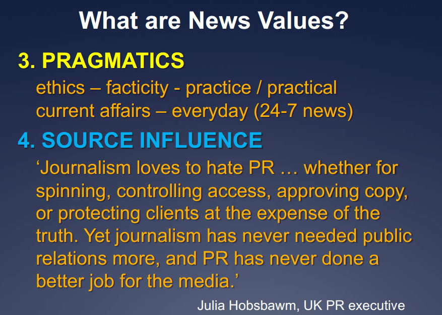 news values News values are the elements of story that journalists have used for decades to quickly assess and determine whether an idea or event is worth sharing — and if so, how prominently.