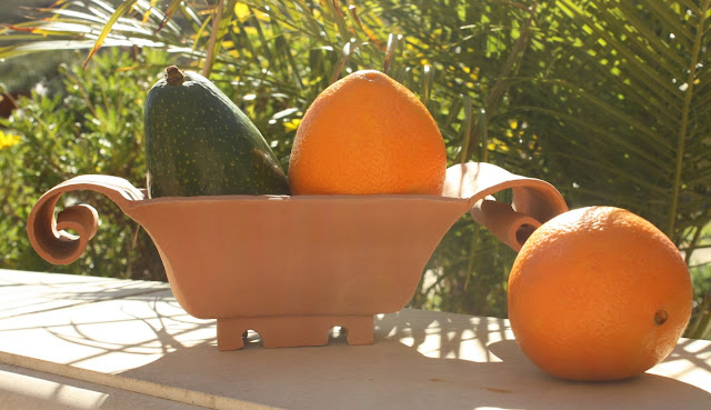 fruit, orange, avocado, earthenware, terracotta, green, arte, S. Myers, Sarah Myers, art, photography, still-life, wall, palms, curl, California