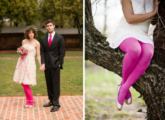Collant da sposa rosa, pink bridal tights