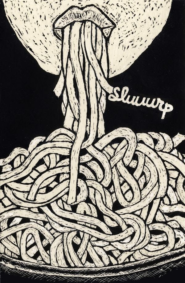 slurping up spaghetti illustration by Tal Brosh