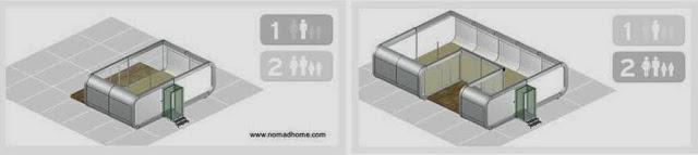 Renderizado de dos configuraciones de viviendas hechas con módulos