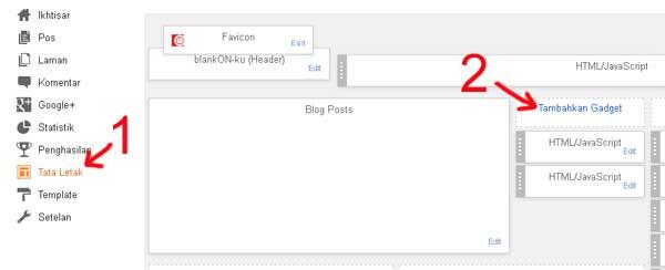 Tampilan Tata Lertak Dashboard pada Blogger